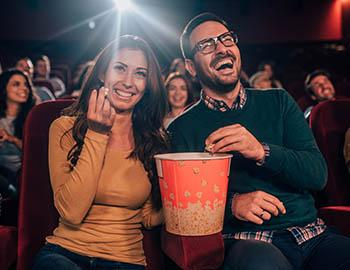 Couple enjoying popcorn together at the Mammoth Film Festival