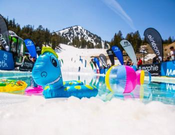 People in Mammoth ready for the Pond Skim