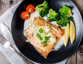 Plate of fish and vegetables