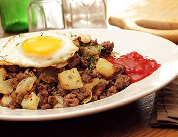 Hash plate with potatoes and eggs