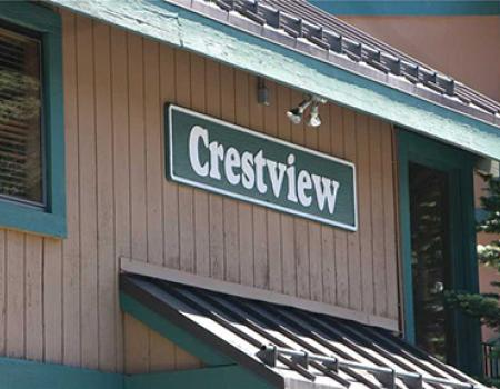 Outside of Crestview resort and apartments in Mammoth