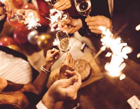 New Years Eve celebration with sparklers