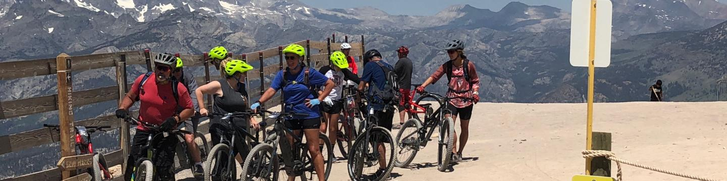 Friends gather together near Mammoth Mountain bike park