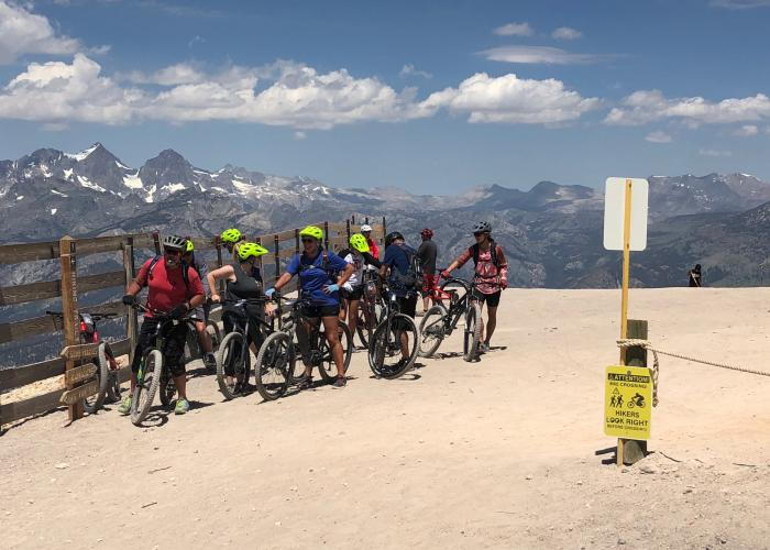 Friends mountain biking in Mammoth