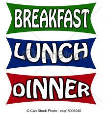 Breakfast, lunch dinner sign