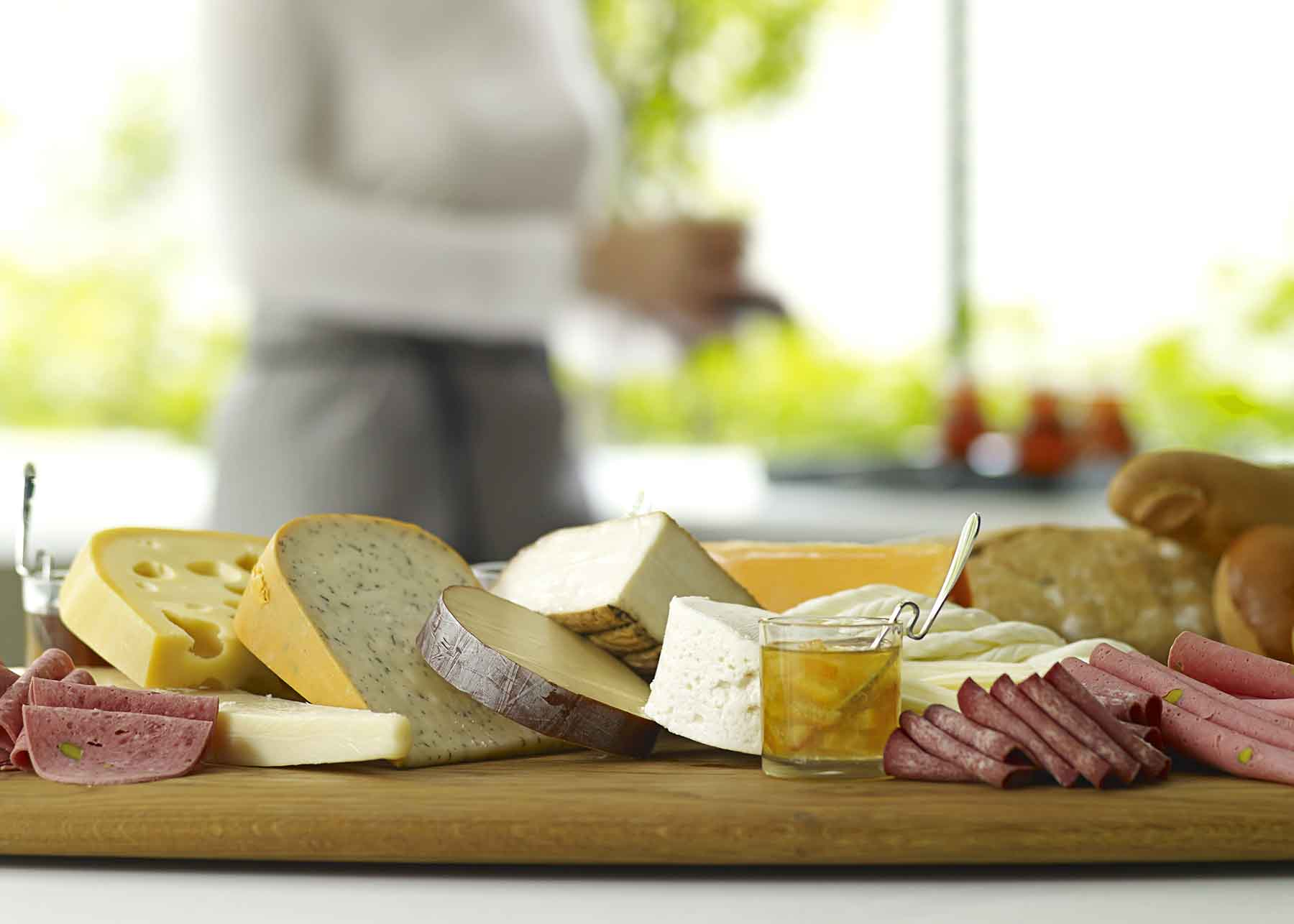 Freshly prepared cheese platter at a wine and food event