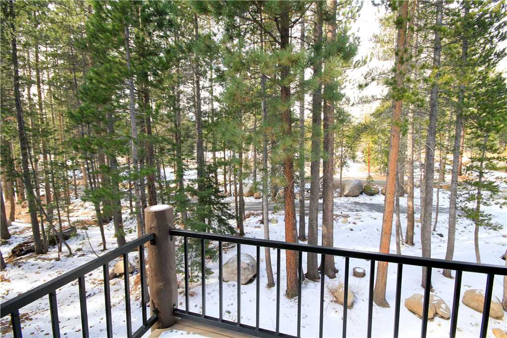 View of trees in Mammoth from a vacation rental's deck
