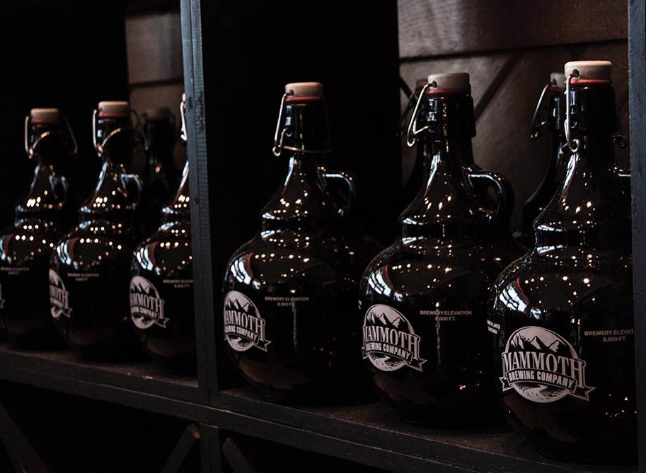 Growlers lined up at Mammoth Brewing Company