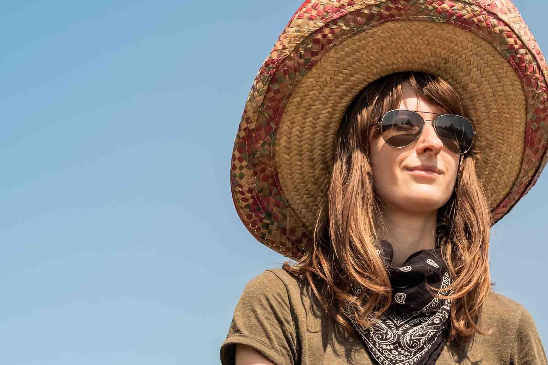 Festival attendee wearing a sombrero