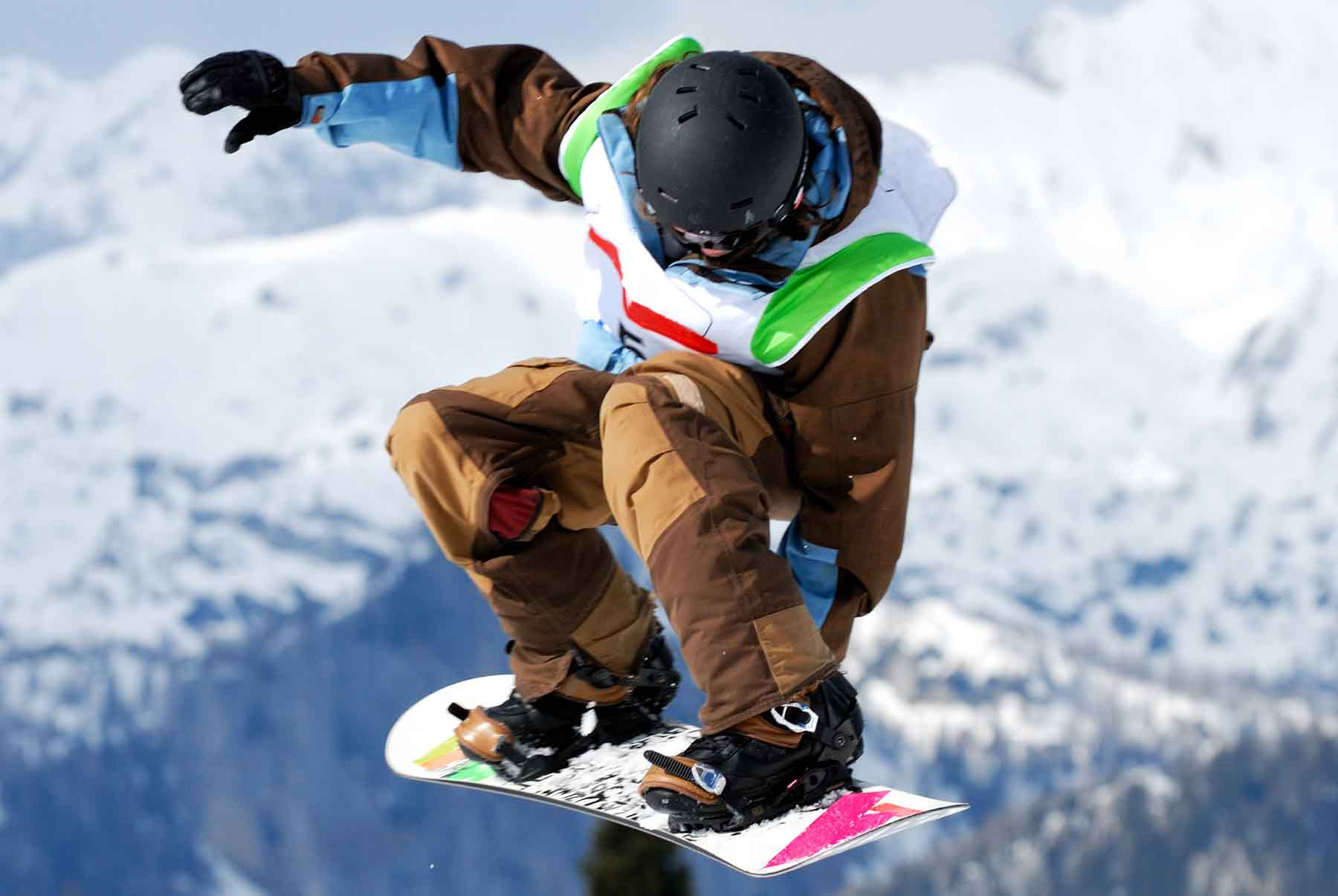 Snowboarder competing in the Grand Prix in Mammoth